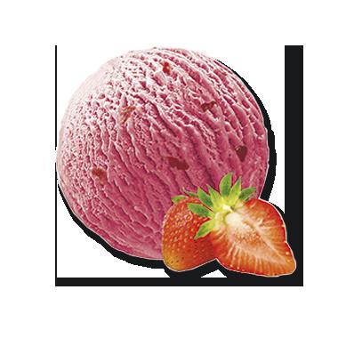 Erdbeere mit Erdbeerstückchen